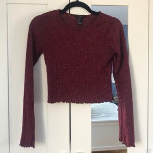 Dark pink long sleeve crop-top